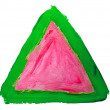 Watercolor triangle green red paint abstract isolated blot — Stock Photo