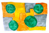 Watercolor yellow green blue background abstract paper art daub — 图库照片
