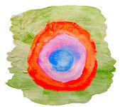 Art green red circle ornament watercolor isolated for your desig — Stock Photo