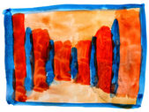 Table yellow orange blue mesh chart stroke paint brush watercolo — Stock Photo