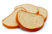 Pieces of bread loaf isolated on white background — Stock Photo
