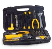 Yellow set tools box isolated on white background — Stock Photo