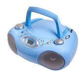 Blu stereo cd mp3 registratore a cassette radio isolato su bianco cli — Foto Stock