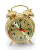 Golden alarm clock classic isolated on white background clipping — Stock Photo