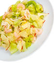 Apples shrimp and salad isolated a on white background clipping — Stock Photo