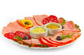 Sausage and sliced ham mustard isolated plate isolated a on whit — Stock Photo