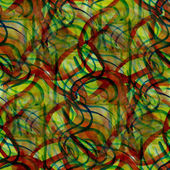 Sfondo verde, rosso, linee ornamento acquerello arte te senza soluzione di continuità — Foto Stock