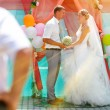 Sunlight Bride and groom newlyweds are on register ceremony cont — Stock Photo