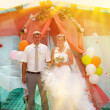 Sunlight Bride blonde and groom during newlyweds wedding ceremon - Stock Photo
