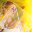 Sunlight bride portrait veil blonde woman stands and looks out w — Stock Photo
