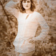 Stok fotoğraf: Retro black and white photo of sepia beautiful brunette girl wom