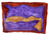 Abstract purple, brown isolated watercolor stain — Stok fotoğraf