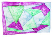 Abstract triangle, purple, green isolated watercolor stain — Stock Photo