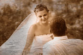 Retro black and white photo of sepia beautiful bride blonde woma — Stock Photo