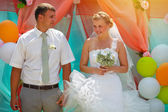 Sunlight Bride and groom newlyweds are on registration wedding c — Stock Photo