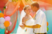 Sunlight bride and groom, couple married on day of registration — Stock Photo