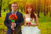 Sunlight bride and groom standing on a green background in fores — Stock Photo