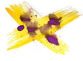 Background watercolour purple, yellow brush texture isolated on — Stock Photo