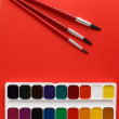 Brush art red on texture art palette background watercolor — Stock Photo