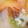 Sunlight beautiful hands with rings of bride and groom on large  — Stock Photo