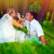 Sunlight bride and groom at wedding in green forest sitting — Stock Photo #24488735
