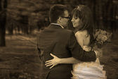 Retro sepia black and white photo bride and groom newlyweds look — Stock Photo