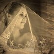 Retro sepia black and white photo, bride portrait veil blonde wo — Stock Photo