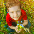 Sunlight Boy sitting on green grass in spring and keeps the flow — Stock Photo #24491765