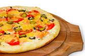 Pizza large tasty cucumber on white background — Stock Photo