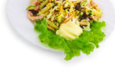Salad and sausage food plate isolated white background — Stock Photo