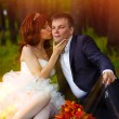 Couple sunlight bride and groom sitting on green grass, picnic i — Stock Photo