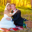 Couple sunlight bride and groom yellow autumn forest, sitting on — Stock Photo