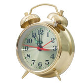 Yellow alarm clock gold isolated on white background (clipping p — Stok fotoğraf