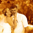 Retro sepia photo couple newlyweds wedding are in green summer f - 图库照片