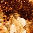 Royalty-Free Stock Photo: Retro sepia photo couple wedding are in green summer forest, bri