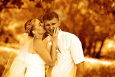 Retro sepia photo couple newlyweds wedding are in green summer f — Stock Photo