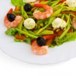 Stock Photo: Olives dish meal salad shrimp isolated on white background