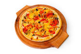 Appetizing pizza with wooden tray cheese close up white backgrou — Stock Photo