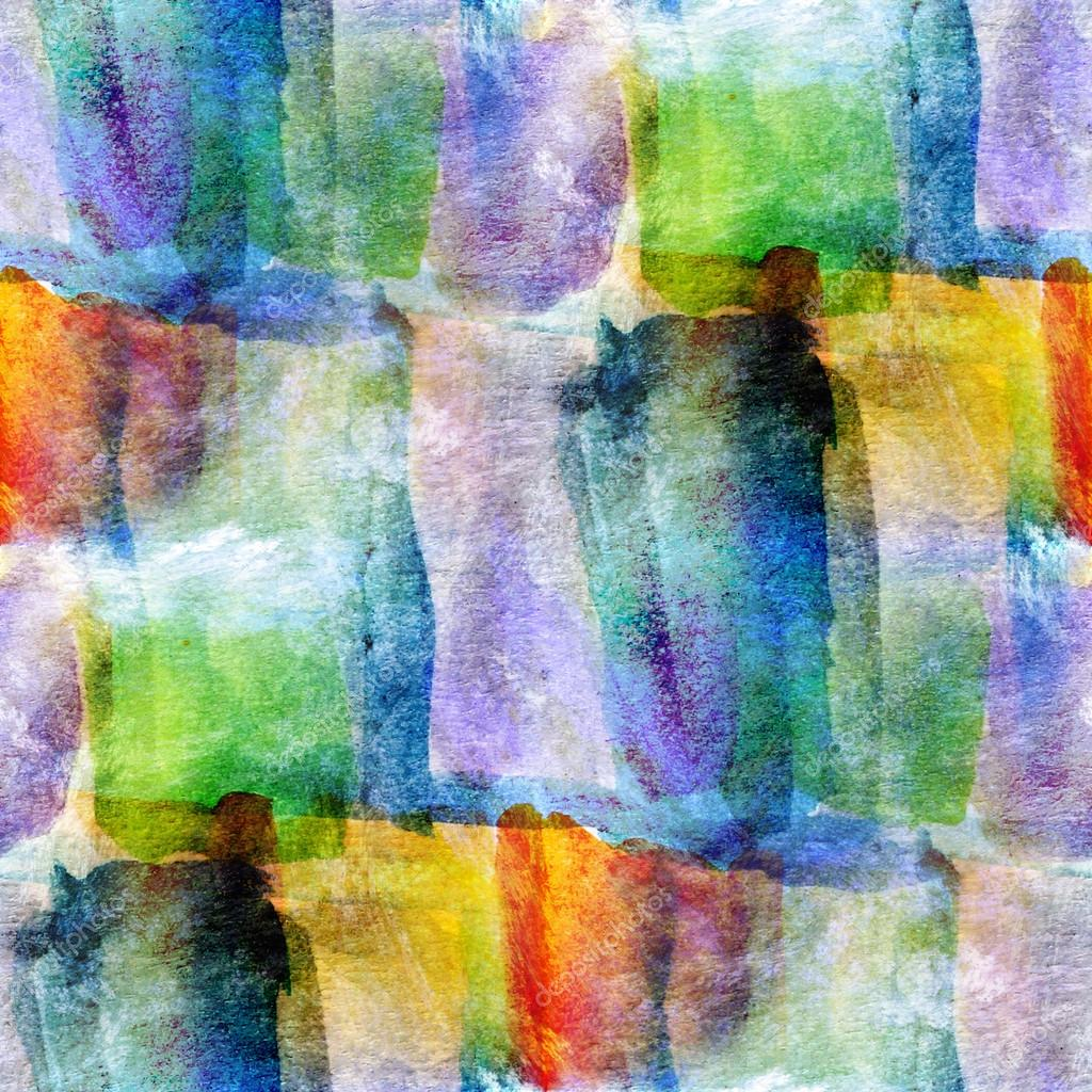 Wallpaper Green, Blue, Yellow Abstract Seamless Watercolor