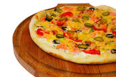 Large pizza tasty cucumber on white background (clipping path) — Stock Photo