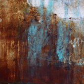 Old iron background red blue texture rust and scuffed wallpaper — Stock Photo