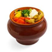 Potatoes pot mushrooms food carrot isolated on white ba — Stock Photo