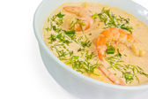 Shrimp food soup dill in bowl isolated on white background — Stock Photo
