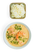 Soup food shrimp rice plate isolated on white background — Stock Photo