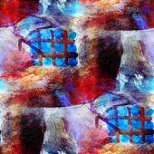 抽象的无缝红、 蓝色纹理水彩笔描边韩 — 图库照片