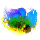 Paint blue, yellow, green stroke splatters color watercolor abst — Stock Photo
