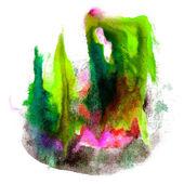 краска зеленая, черная обводка брызжет цвет акварелей абстрактный ва — Стоковое фото
