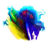 Paint red, blue, yellow stroke splatters color watercolor abstra — Stock Photo