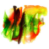 Paint stroke yellow, green, orange splatters color watercolor ab — Stock Photo