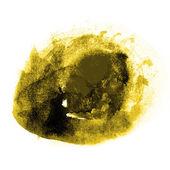 Stroke färg gul, svart stänker färg akvarell abstrakt w — Stockfoto
